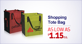 "Shopping Promo Tote Bag - 13"" w x 15"" h x 10"" d Expressions Folding Promotional Tote Bag - 16.5"" w x 15.25"" h"