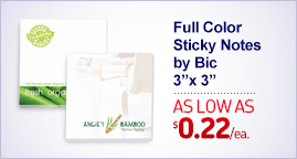 "Imprinted Sticky Notes by BiC - 3"" x 3"" - 25 Sheets"