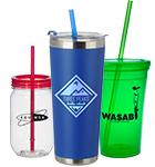 Tumbler Cups with Straws