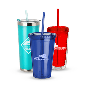 Customized Tumbler Cups with Straws