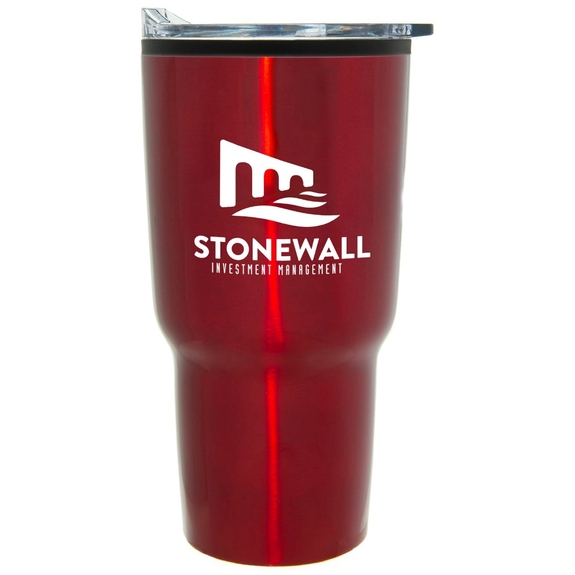 Red Stainless Steel Tapered Custom Tumbler w/ Plastic Liner
